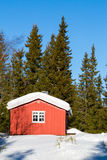 Typical red Norwegian cabin Stock Images