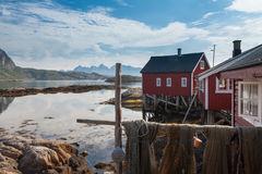 Typical Red Rorbu Fishing Hut In Town Of Svolvaer Stock Image