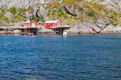 Typical red rorbu fishing hut in town of Svolvaer Stock Photo