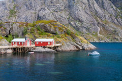 Typical red rorbu fishing hut in town of Svolvaer Royalty Free Stock Image