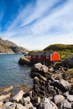 Typical red rorbu fishing hut in village Nusfjord Royalty Free Stock Images