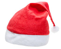 Typical red santa hat isolated on white background Stock Photo