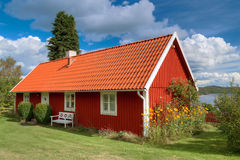 Typical red wooden house in Sweden Royalty Free Stock Photography