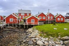 Typical red wooden houses on the coast of Finland Stock Images