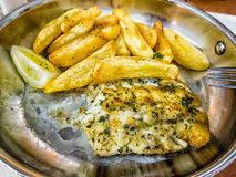 Typical regional food, kingklip fish, South Africa. Royalty Free Stock Image