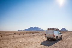 Typical rent car in Namibia. Equipped with everything necessary for a long trip: tents, sleeping bags, mini-fridge, heater etc near Spitzkoppe, Namibia stock photos