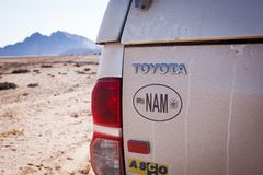 Typical rent car in Namibia. Equipped with everything necessary for a long trip: tents, sleeping bags, mini-fridge, heater etc near Spitzkoppe, Namibia stock images
