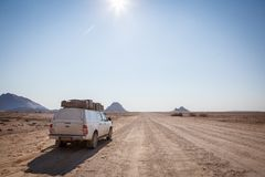 Typical rent car in Namibia. Equipped with everything necessary for a long trip: tents, sleeping bags, mini-fridge, heater etc near Spitzkoppe, Namibia royalty free stock photos