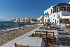 Typical Restaurant and Little Venice at Mykonos, Cyclades, Greece Royalty Free Stock Image
