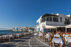 Typical Restaurant and Little Venice at Mykonos, Greece Royalty Free Stock Image