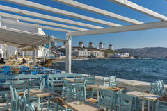 Typical Restaurant and Panoramic view to Mykonos,  Cyclades, Greece Royalty Free Stock Images