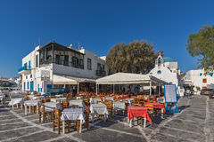 Typical Restaurant and small square, Cyclades, Greece Royalty Free Stock Image