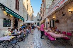 Typical restaurants in Old Town, Dubrovnik, Dalmatia, Croatia Royalty Free Stock Image