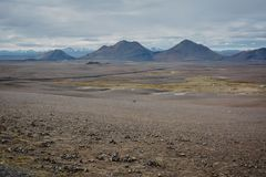 Typical ring road view with empty road in the background without any cars and people in Iceland. In summer stock photo