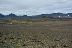Typical ring road view with empty road in the background without any cars and people in Iceland. In summer stock image