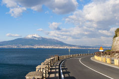 Typical road Sorrento peninsula, with volcano Vesuvius on backgr Stock Photos