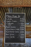 Typical roadside stall in Indonesia with Today's Menu written on board Royalty Free Stock Images