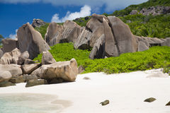 Typical rocks of Seychelles with bushes and sandy beach Royalty Free Stock Photography