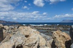Coast of Crete island. Typical rocky coastline on Crete  , Greece , Europe Stock Images