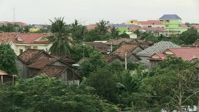 Typical roof , cambodia. Roof of houses in Kampong Cham town, Cambodia stock video footage