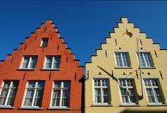 Typical roofs of houses in Bruges Stock Images