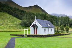 Typical Rural Icelandic Church at Overcast Day Royalty Free Stock Image