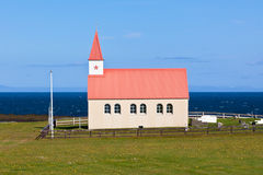Typical Rural Icelandic Church at Sea Coastline Stock Photos