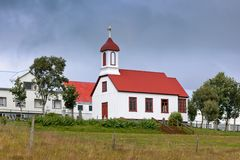 Rural Icelandic church at bad weather Royalty Free Stock Image
