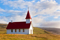 Typical Rural Icelandic Church under a blue summer sky Royalty Free Stock Photo