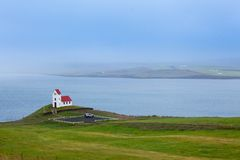 Typical rural icelandic church Stock Images