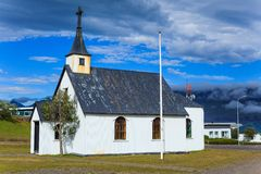 Typical rural icelandic church Stock Photo