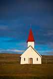 Typical Rural Icelandic Church under a blue summer sky Royalty Free Stock Image