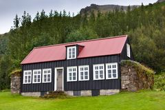 Typical Rural Icelandic house at overcast day Stock Photography