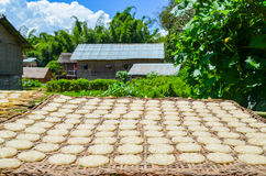 Typical rural landscape in Myanmar with traditional bamboo huts and blue deep sky Royalty Free Stock Photos