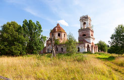 Typical russian landscape with old abandoned church Royalty Free Stock Images
