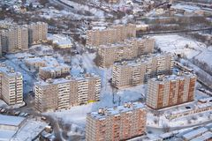 Typical Russian residential multistory building in Stock Photo