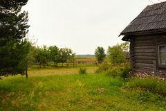 Typical russian village house in the countryside Royalty Free Stock Image