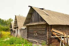 Typical russian village house in the countryside Stock Photo
