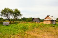 Typical russian village house in the countryside Royalty Free Stock Photos