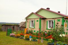 Typical russian village house in the countryside Royalty Free Stock Photography