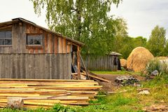 Typical russian village house in the countryside. Typical russian village houses in countryside Stock Photography
