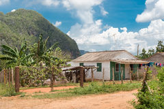 Typical rustic wooden house at the Vinales Valley  Royalty Free Stock Photos