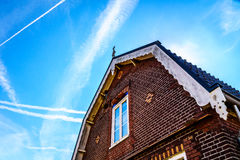 Typical Saddle Roof of a Brick House in a Historic Fishing Village Stock Image