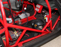 Typical safety roll cage used in racing vehicles. MAUI, HAWAII - MAY 24: A typical roll cage shown in red, used for driver safety in a racing vehicle in case of Royalty Free Stock Photography