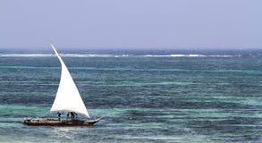 Typical sailing boat in kenya. Diani beach, Kenya Royalty Free Stock Image