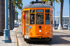 Typical San Francisco train traveling down the Embarcadero Stock Images