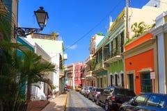Typical San Juan. Beautiful typical traditional vibrant street in San Juan, Puerto Rico stock image