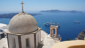 Typical Santorini church. Painted white and grey, Greece Royalty Free Stock Photography