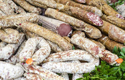 Typical Sardinian food. Dried sausages like salami, cured meats Royalty Free Stock Image