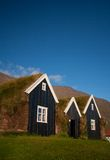 Typical scandinavian houses. With grass on the roof Stock Image